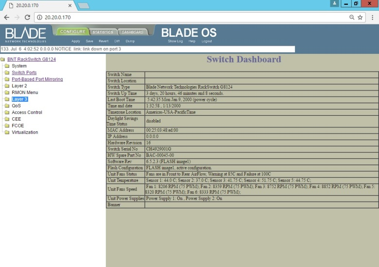 Set BLADE RackSwitch G8124 (Interface UI Change IP Address Mgmt) (1)