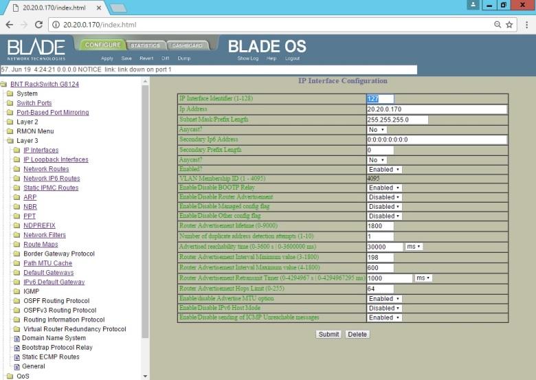 Set BLADE RackSwitch G8124 (Interface UI Change IP Address Mgmt) (4)