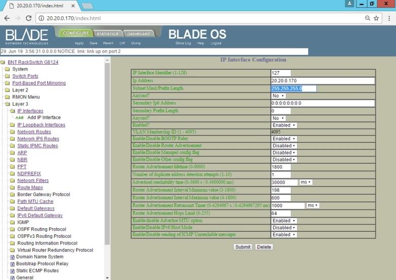 Set BLADE RackSwitch G8124 (Interface UI Change IP Address Mgmt) (6)