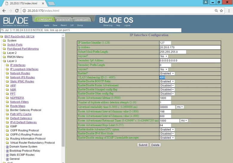 Set BLADE RackSwitch G8124 (Interface UI Change IP Address Mgmt) (7)